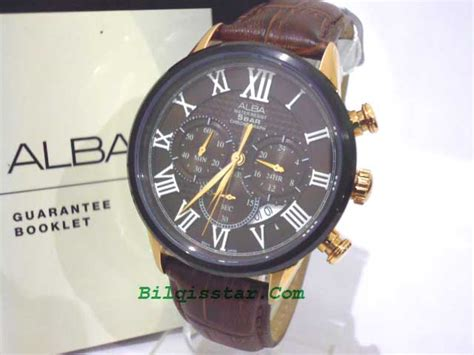 Alba Original Pria As9b52 Gold alba at 3442x1 stainless gold tali kulit coklat