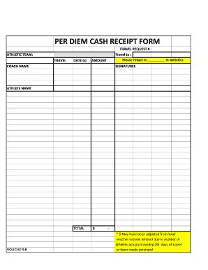 per diem receipt template per diem request form template fill printable