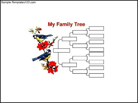 4 generation family tree with birds sle word template