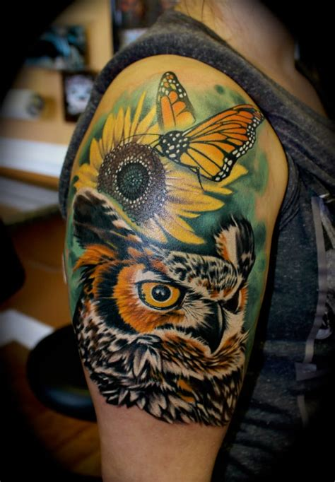 star city tattoo owl and monarch butterfly by roger ladouceur