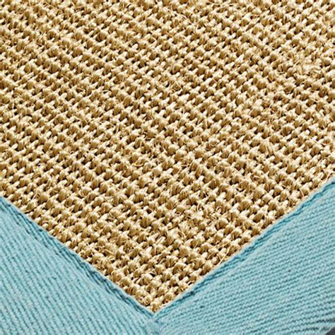 sisal rug with blue border sisal rug and runners aqua blue border free delivery