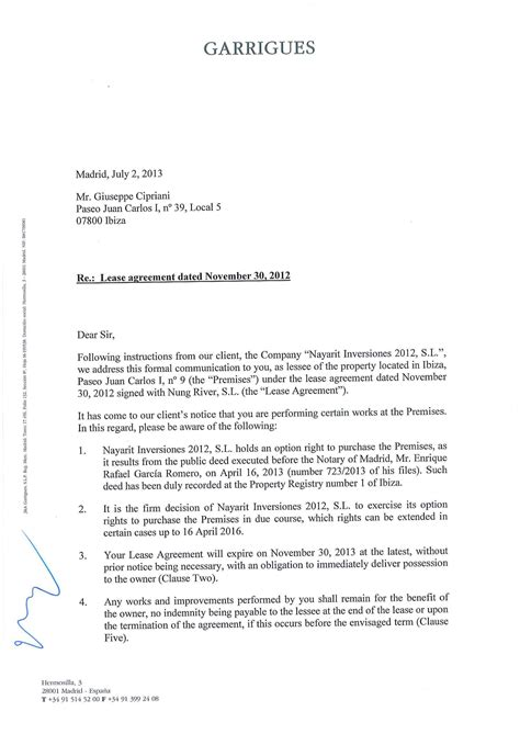 Letter Of Non Lease Renewal Sle Nonrenewal Of Lease Letter Free Printable Documents