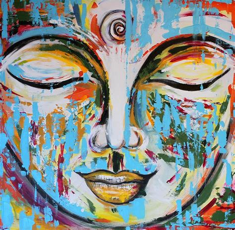 colorful buddha colorful buddha painting by theresa johnson