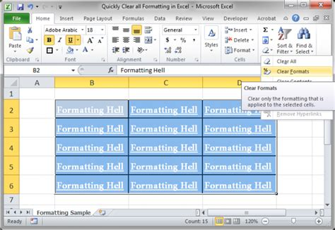 format excel shortcut quickly clear all formatting in excel teachexcel com