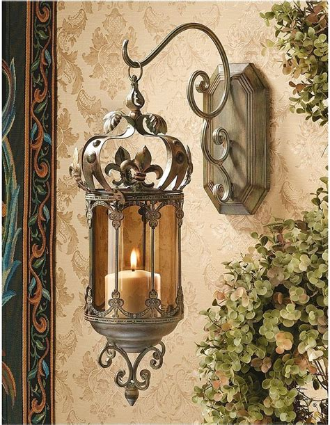 Hanging Wall Sconces For Candles fleur de lis hanging metal scrollwork pendant lantern sconce wall can