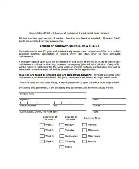 computer repair contract template sle maintenance contract forms 8 free documents in
