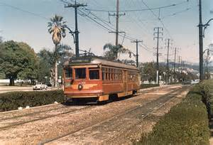 Pacific Electric Car History Streetcar On Santa Boulevard At Canon Drive