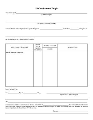 Us Certificate Origin Fill Online Printable Fillable Blank Pdffiller Us Israel Certificate Of Origin Template