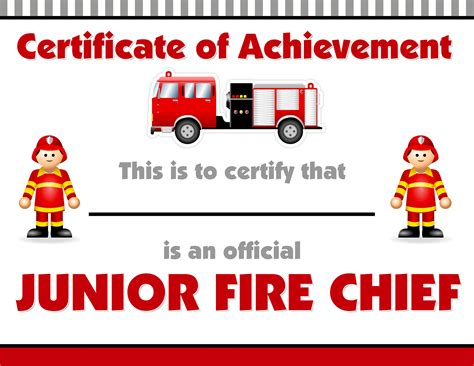 junior achievement certificate template firetruck themed birthday with free printables how