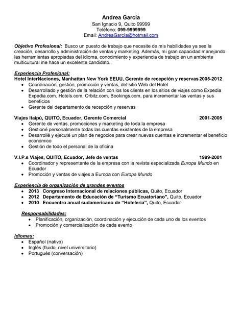Modelo De Curriculum De Hosteleria modelo de curriculum vitae hotelero modelo de curriculum