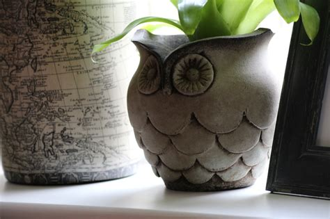 Owl Planter by Parlane Owl Planter Distressed Green Frances Brown