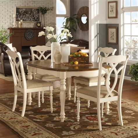 shayne country antique  tone white extending dining set