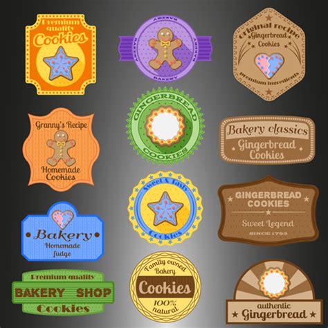 design label cookies cookies badges with labels design vectors vector food