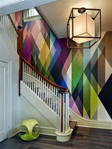 painting ideas modern wallpaper and colorful home fabrics 16 fabulous ideas that bring wallpaper to the stairway