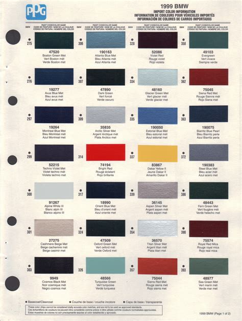 bmw paint colors paint chips 1999 bmw