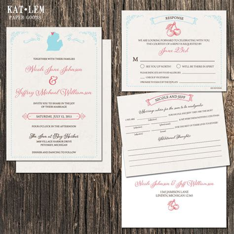 wedding invitations michigan michigan wedding invitation set michigan state destination