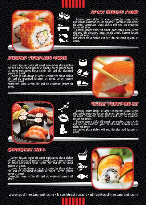 japanese restaurant menu template sushi restaurant menu flyer template 105 by 21min
