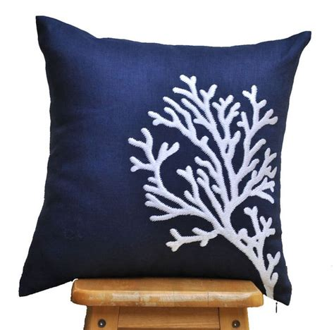 Coral And Navy Pillows by Navy White Pillow Cover Throw Pillow Cover White Coral