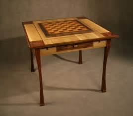 Custom made game chess table oak and rosewood by art