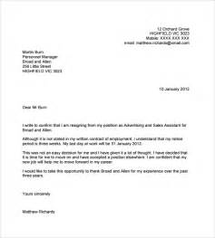 Sle Letter Of Resignation From An Organization by Resignation Email Template 6 Documents In Pdf