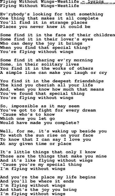 Love Song Lyrics for: Flying Without Wings-Westlife | LoVe