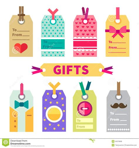gift vector label elements webbyarts gift set of labels and post card stock vector