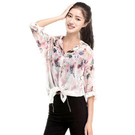 new fashion lapel collar flower chiffon tops floral print