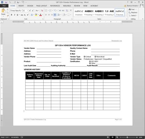 supplier quality manual template vendor performance log iso template