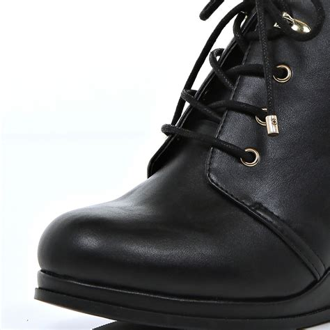 river island black lace up wedge boots in black lyst