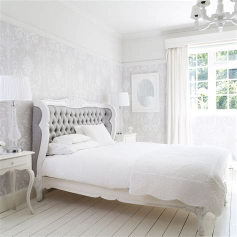 grey and white bedroom wallpaper bergerac silk upholstered bed french bedroom company