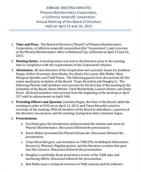 corporate annual minutes template annual meeting minutes template 9 free pdf documents