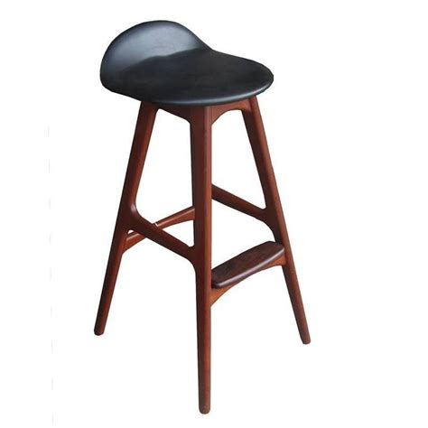 Erik Buch Bar Stool by Pair Vintage Erik Buch Black Leather Solid Teak And