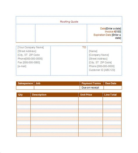 Formal Estimate Template by Roofing Estimate Template 10 Free Word Excel Pdf