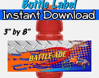 Nerf Battle Signs Etsy Gatorade Label Template