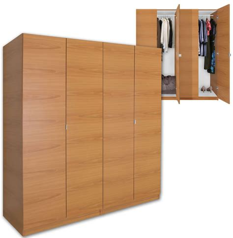 Free Standing Wood Closet alta 4 door wardrobe closet basic package free standing