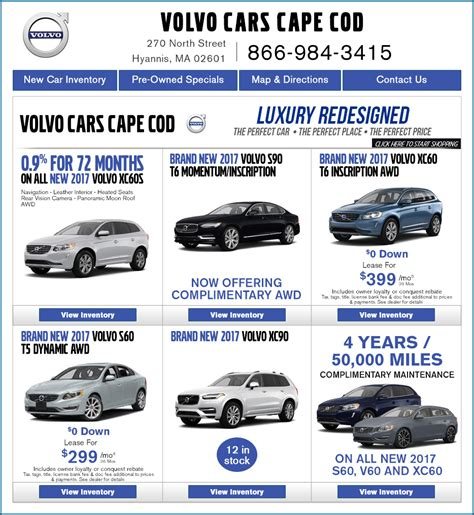 premier volvo  cape   car specials  hyannis ma great deals