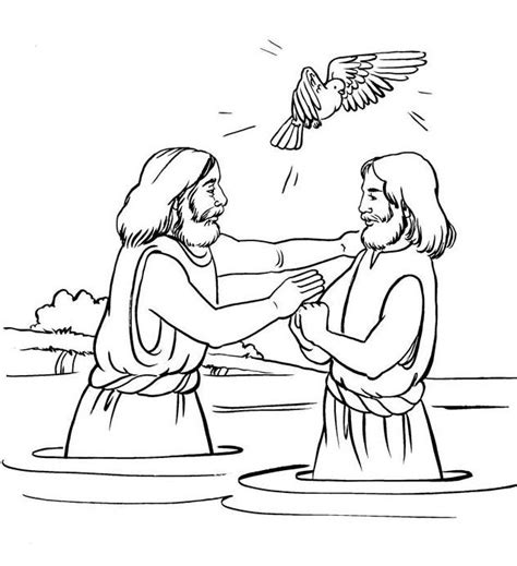 john the baptist baptism jesus coloring pages jesus baptism coloring bible nt gospels pinterest