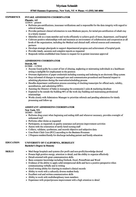 Admissions Director Sle Resume by Admissions Coordinator Resume Resume Ideas