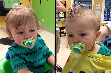 baby boy haircuts before and after from curly wisps to a cool faux hawk boy s first haircut