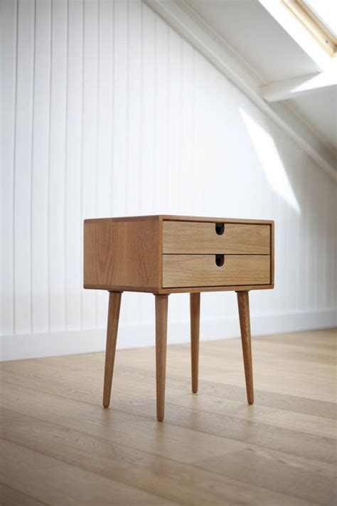 Modern Nightstands Mid Century Modern Solid Oak Nightstand With Double