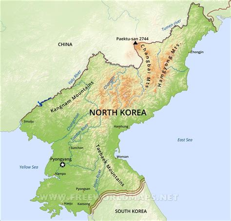 korea physical map physical map of korea images