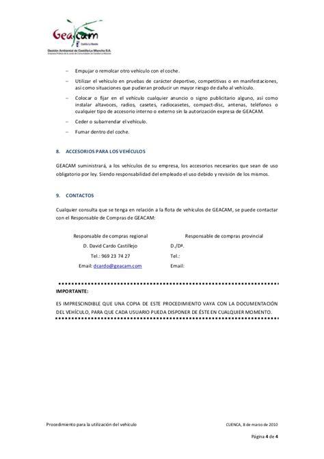 carta de autorizacion para utilizar vehiculo procedimiento utilizacion vehiculo empresa