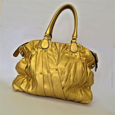 Richies Valentino Pintucked Shopper by The Green Suitcase Valentino Gold Studded