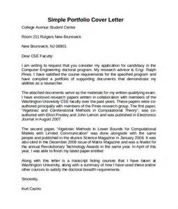 Cover Letter For A Portfolio by Sle Cover Letter Template 8 Free Documents