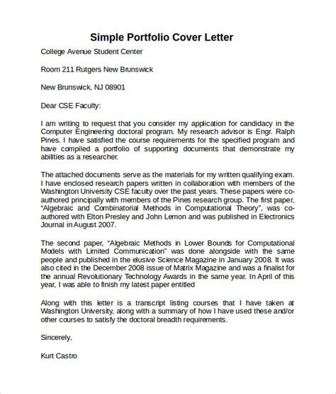 cover letter exles for portfolio sle cover letter template 8 free documents