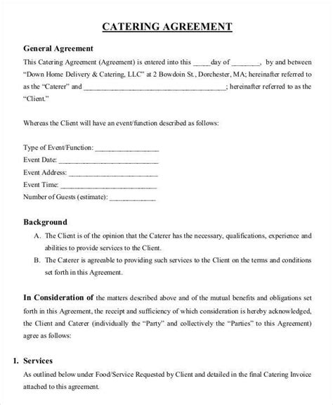 Wedding Catering Contract Sle by 9 Catering Contract Templates Free Sle Exle Format