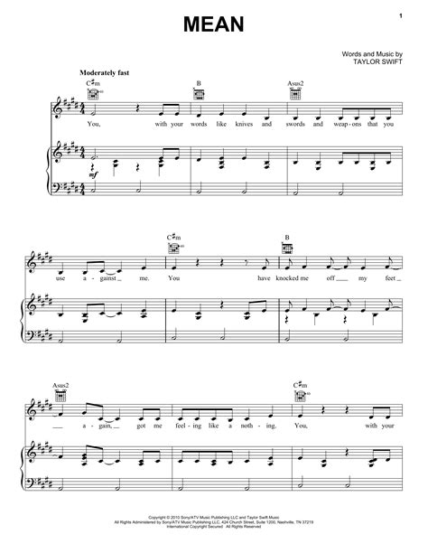 taylor swift mean lyrics and piano chords mean sheet music direct