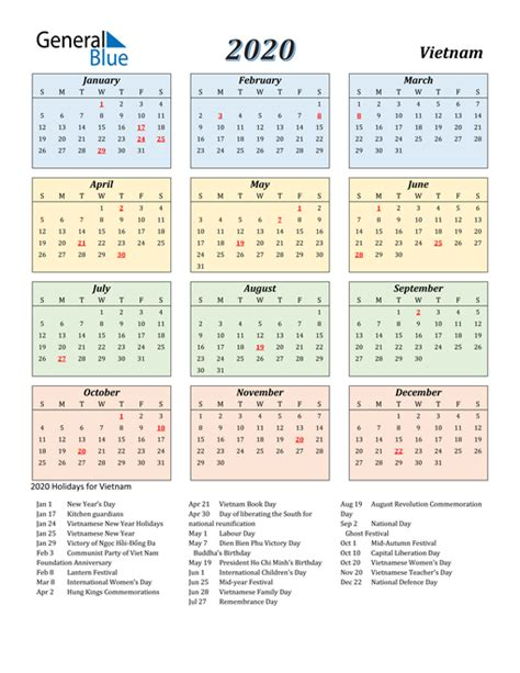 calendar vietnam  holidays