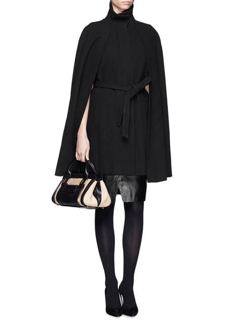 wool blend cape coat maje wool blend cape coat in black lyst