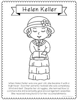 Helen Keller Biography Pages | helen keller coloring page craft or poster with mini